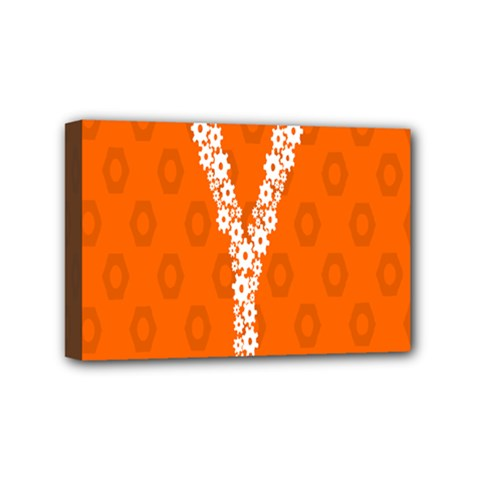 Iron Orange Y Combinator Gears Mini Canvas 6  X 4  by Mariart