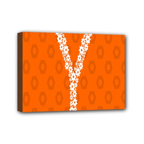 Iron Orange Y Combinator Gears Mini Canvas 7  X 5  by Mariart
