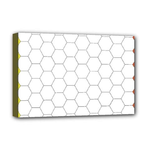 Hex Grid Plaid Green Yellow Blue Orange White Deluxe Canvas 18  X 12