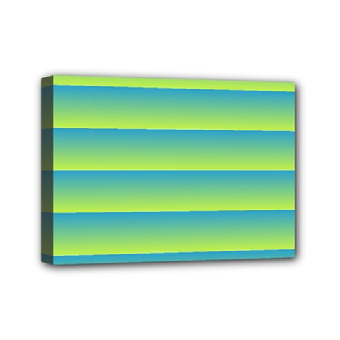 Line Horizontal Green Blue Yellow Light Wave Chevron Mini Canvas 7  X 5  by Mariart