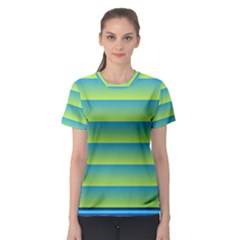 Line Horizontal Green Blue Yellow Light Wave Chevron Women s Sport Mesh Tee by Mariart