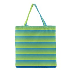 Line Horizontal Green Blue Yellow Light Wave Chevron Grocery Tote Bag by Mariart