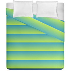 Line Horizontal Green Blue Yellow Light Wave Chevron Duvet Cover Double Side (california King Size) by Mariart