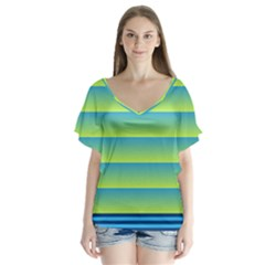 Line Horizontal Green Blue Yellow Light Wave Chevron Flutter Sleeve Top