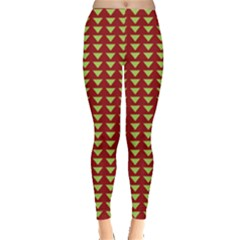 Hawthorn Sharkstooth Triangle Green Red Full Leggings  by Mariart
