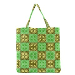 Clipart Aztec Green Yellow Grocery Tote Bag by Mariart