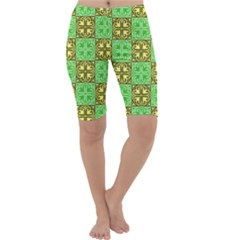 Clipart Aztec Green Yellow Cropped Leggings  by Mariart