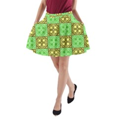 Clipart Aztec Green Yellow A Line Pocket Skirt by Mariart