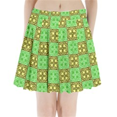 Clipart Aztec Green Yellow Pleated Mini Skirt