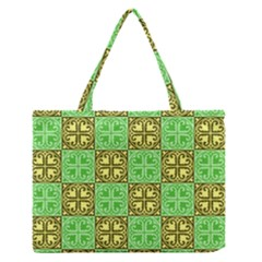 Clipart Aztec Green Yellow Medium Zipper Tote Bag by Mariart