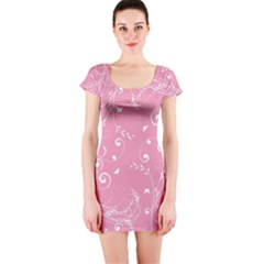 Floral Design Short Sleeve Bodycon Dress