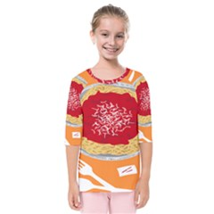 Instant Noodles Mie Sauce Tomato Red Orange Knife Fox Food Pasta Kids  Quarter Sleeve Raglan Tee by Mariart