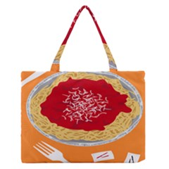 Instant Noodles Mie Sauce Tomato Red Orange Knife Fox Food Pasta Medium Zipper Tote Bag by Mariart