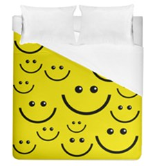 Linus Smileys Face Cute Yellow Duvet Cover (queen Size) by Mariart