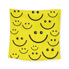Linus Smileys Face Cute Yellow Square Tapestry (small) by Mariart