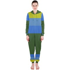 Plaid Green Blue Yellow Hooded Jumpsuit (ladies)  by Mariart