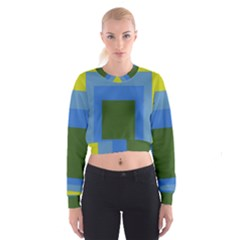 Plaid Green Blue Yellow Cropped Sweatshirt by Mariart