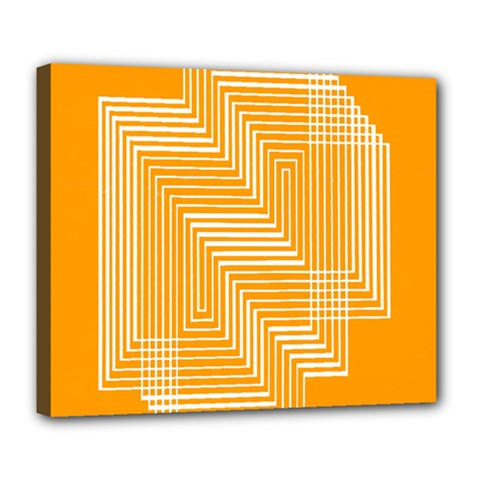 Orange Line Plaid Deluxe Canvas 24  X 20   by Mariart