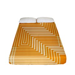 Orange Line Plaid Fitted Sheet (full/ Double Size)