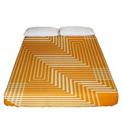Orange Line Plaid Fitted Sheet (king Size) by Mariart