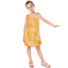 Orange Line Plaid Kids  Sleeveless Dress by Mariart