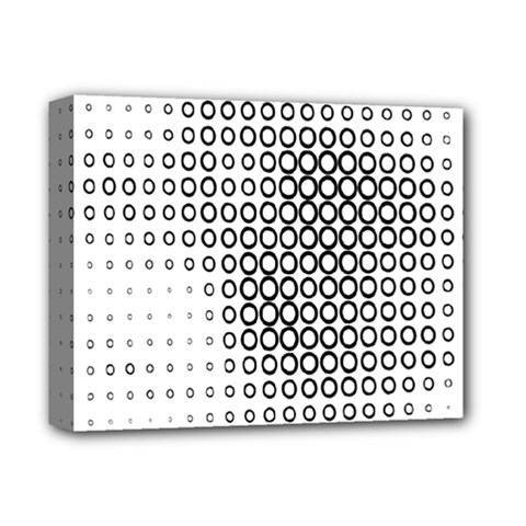 Polka Circle Round Black White Hole Deluxe Canvas 14  X 11  by Mariart