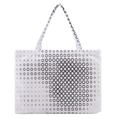 Polka Circle Round Black White Hole Medium Zipper Tote Bag by Mariart