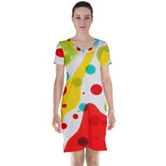 Polkadot Color Rainbow Red Blue Yellow Green Short Sleeve Nightdress
