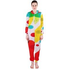 Polkadot Color Rainbow Red Blue Yellow Green Hooded Jumpsuit (ladies)  by Mariart