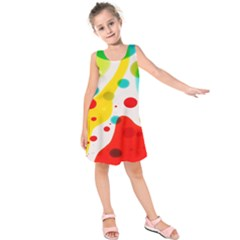 Polkadot Color Rainbow Red Blue Yellow Green Kids  Sleeveless Dress by Mariart