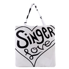 Singer Love Sign Heart Grocery Tote Bag by Mariart