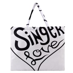 Singer Love Sign Heart Zipper Large Tote Bag by Mariart