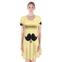 Mustache Short Sleeve V Neck Flare Dress