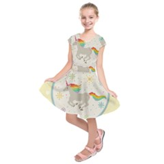 Unicorn Pattern Kids  Short Sleeve Dress