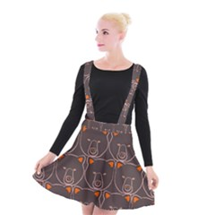 Bears Pattern Suspender Skater Skirt by Nexatart