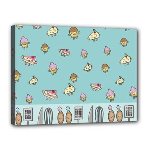 Kawaii Kitchen Border Canvas 16  X 12