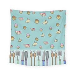 Kawaii Kitchen Border Square Tapestry (small) by Nexatart