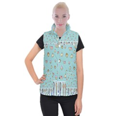 Kawaii Kitchen Border Women s Button Up Puffer Vest by Nexatart
