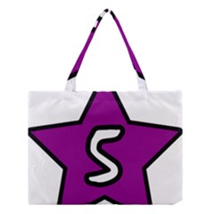 Star Five Purple White Medium Tote Bag by Mariart