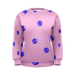 Star Space Balloon Moon Blue Pink Circle Round Polkadot Women s Sweatshirt by Mariart