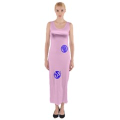 Star Space Balloon Moon Blue Pink Circle Round Polkadot Fitted Maxi Dress