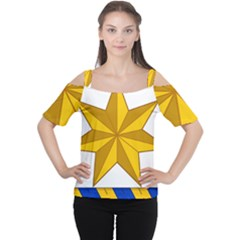 Star Yellow Blue Women s Cutout Shoulder Tee by Mariart