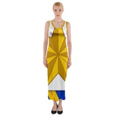 Star Yellow Blue Fitted Maxi Dress
