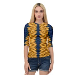 Plaid Blue Gold Wave Chevron Quarter Sleeve Tee by Mariart