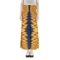 Plaid Blue Gold Wave Chevron Maxi Skirts by Mariart