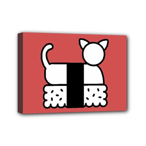 Sushi Cat Japanese Food Mini Canvas 7  X 5  by Mariart