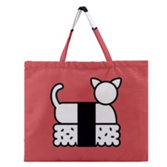 Sushi Cat Japanese Food Zipper Large Tote Bag by Mariart