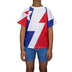 Three Colors Blue White Line Star Kids  Short Sleeve Swimwear by Mariart