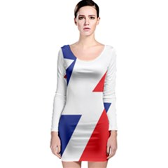 Three Colors Blue White Line Star Long Sleeve Bodycon Dress by Mariart