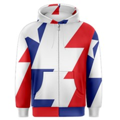 Three Colors Blue White Line Star Men s Zipper Hoodie by Mariart